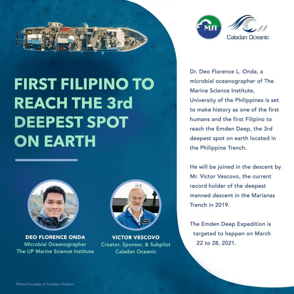 Filipino scientist to make history by reaching the 3rd deepest spot on Earth