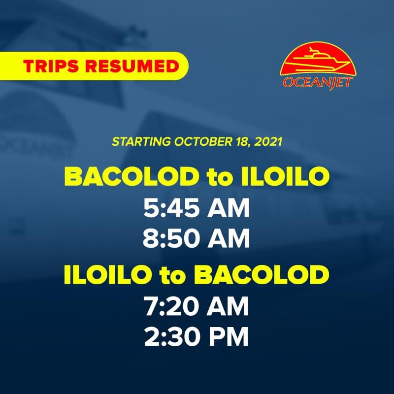 Commercial sea travel between Bacolod & Iloilo cities resumes Monday